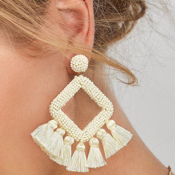 Womens Geometric Plastic Fringe weaving  Resin Earrings NHJQ122795