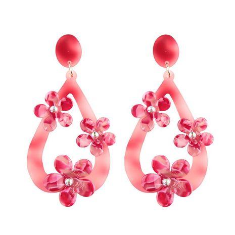 Womens Drop Shaped Flower Acrylic Earrings NHJQ122800's discount tags