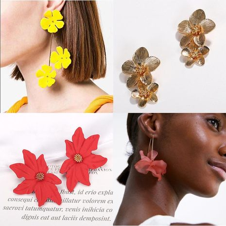 Womens Floral Plating Alloy Earrings NHJQ122805's discount tags