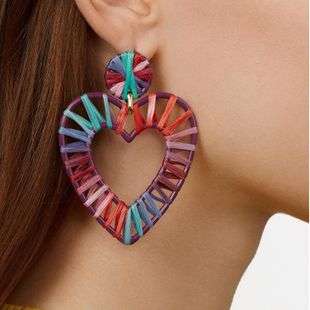 Womens Heart Shaped Handwoven Alloy Earrings NHJQ122806's discount tags