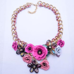 Womens Floral Inlay Imitated crystal Alloy Flower Necklaces NHJQ122807's discount tags