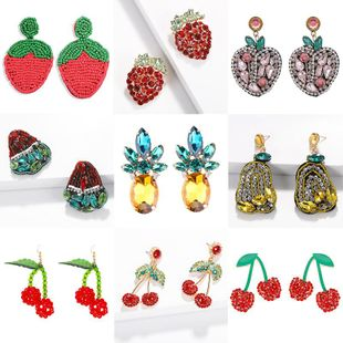Womens Fruit Rhinestone Earrings NHJQ122830's discount tags