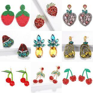 Womens Fruit Rhinestone Earrings NHJQ122830's discount tags