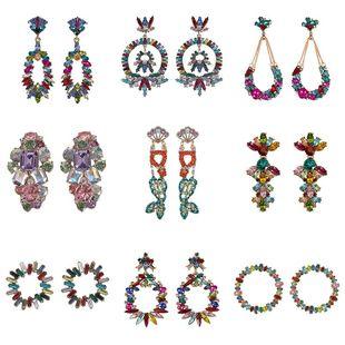 Womens Geometric Rhinestone Earrings NHJQ122831's discount tags