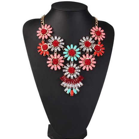 Womens Floral Rhinestone Flower Alloy Necklaces NHJQ122887's discount tags