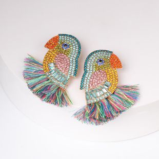 Womens Parrot Studded tassel Mixed Material Earrings NHJJ122915's discount tags