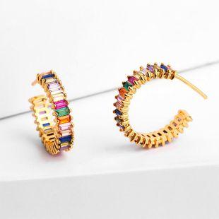Womens Geometric Brass Electric White Steel Earrings NHAS122916's discount tags