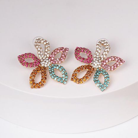 Womens Floral Rhinestone Alloy Earrings NHJJ122917's discount tags