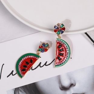 Womens Watermelon Rhinestone Alloy Earrings NHJJ122938's discount tags
