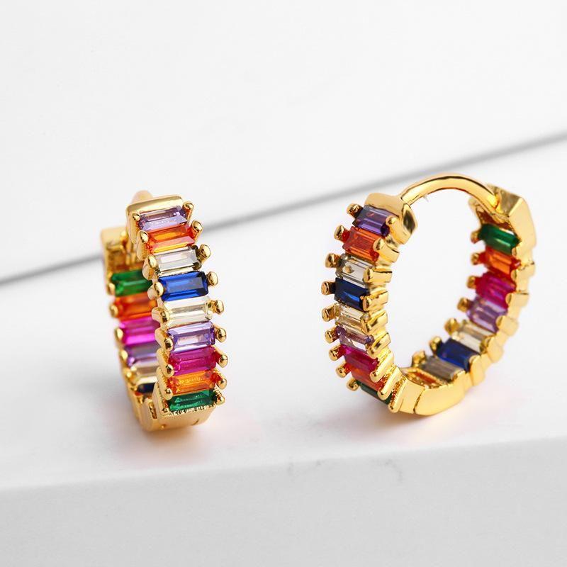 Womens Geometric Brass Electric White Steel Earrings NHAS122941