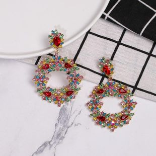 Womens Geometric Flower rhinestone Rhinestone Alloy Earrings NHJJ122946's discount tags