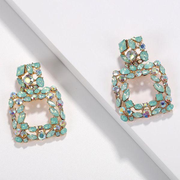 Womens Geometric Rhinestone Alloy Earrings NHJQ122949