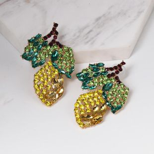 Womens Leaf Rhinestone Alloy Earrings NHJJ122955's discount tags