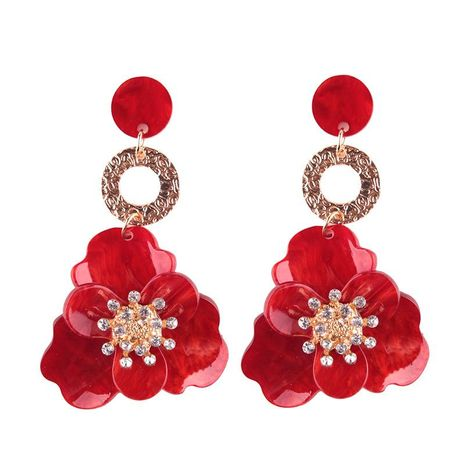 Womens Floral Acrylic Flower Earrings NHJQ122964's discount tags