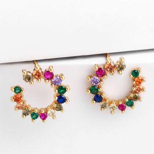 Womens Geometric Brass  Electric White Steel Earrings NHAS122976's discount tags