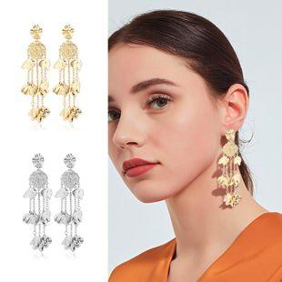 Womens Floral tassel Rhinestone Metal Earrings NHKQ122981's discount tags