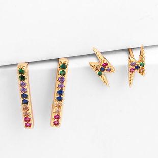 Womens Geometric Brass Electric White Steel Earrings NHAS122988's discount tags
