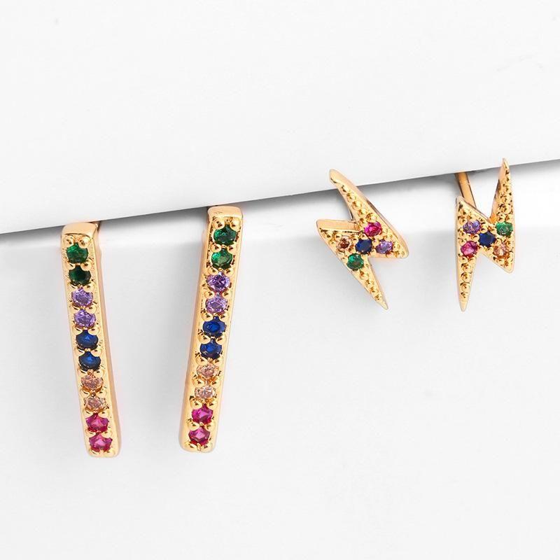 Womens Geometric Brass Electric White Steel Earrings NHAS122988