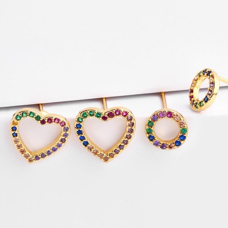 Womens Heart Brass Rotten temperament Electric White Steel Earrings NHAS122991