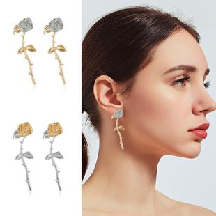 Womens Floral Plating Metal Earrings NHKQ123001's discount tags