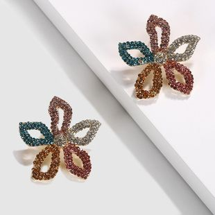 Womens Floral Rhinestone Earrings NHJQ123018's discount tags