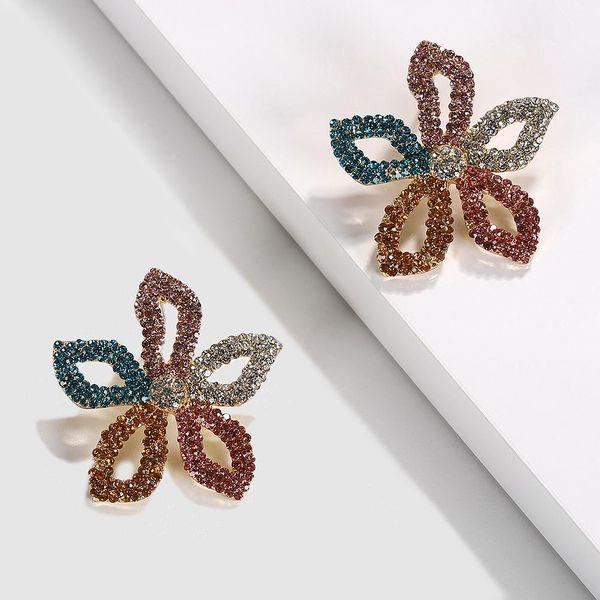 Womens Floral Rhinestone Earrings NHJQ123018