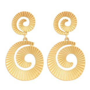 Womens Screw-Shaped Metal Matte Series Earrings NHCT123016's discount tags