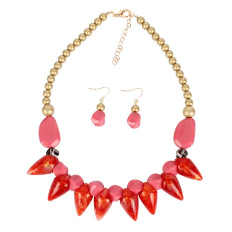 Womens Geometric Plastic Resin Necklaces NHCT123019's discount tags