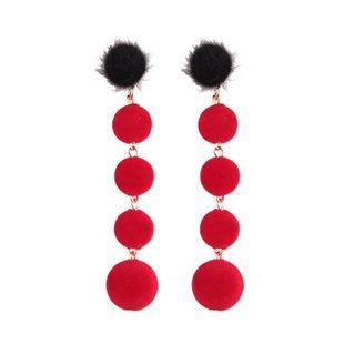 Womens Geometric Suede Ball Earrings NHJQ123022's discount tags