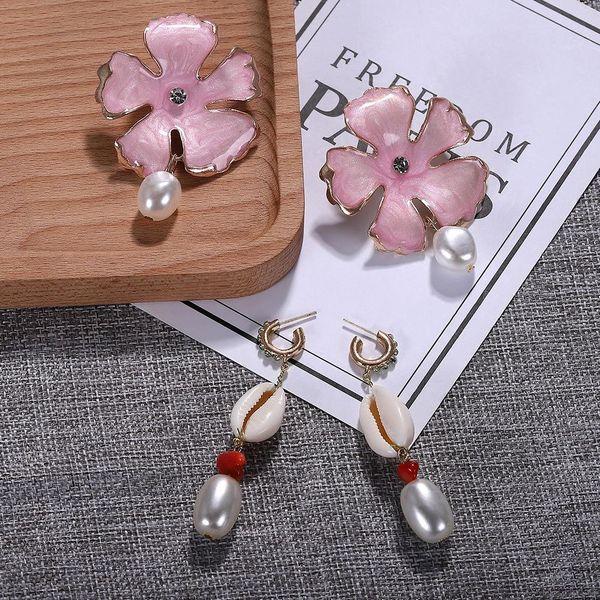 Womens Beads Shell Beads Seashell Earrings NHJQ123051