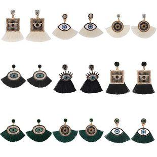 Womens Geometric tassel Rhinestone Earrings NHJQ123056's discount tags