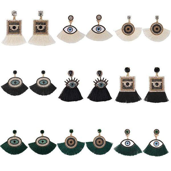 Womens Geometric tassel Rhinestone Earrings NHJQ123056