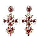 Womens Cross Rhinestone Alloy Earrings NHJJ122965