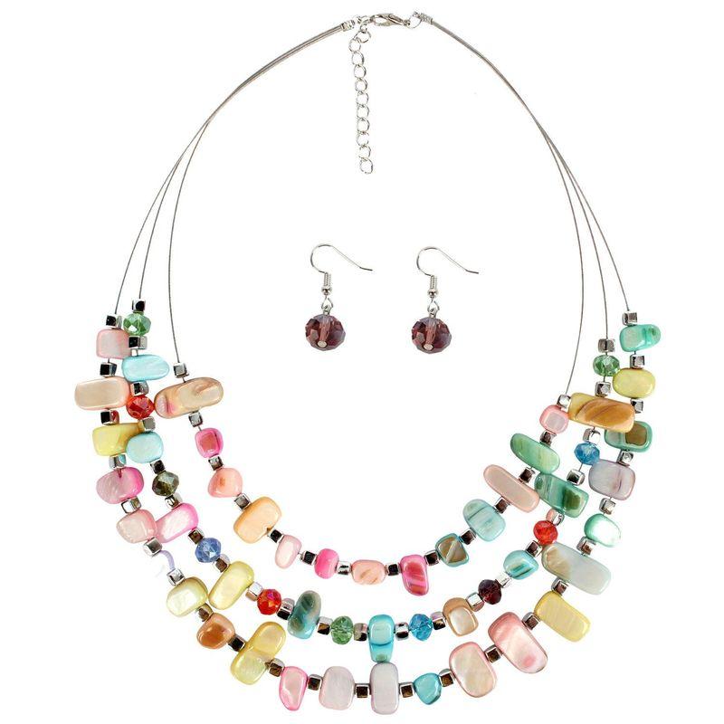Style 123020 Diamontrigue Jewelry: Womens Geometric Shell Street Shot Necklaces NHCT123020
