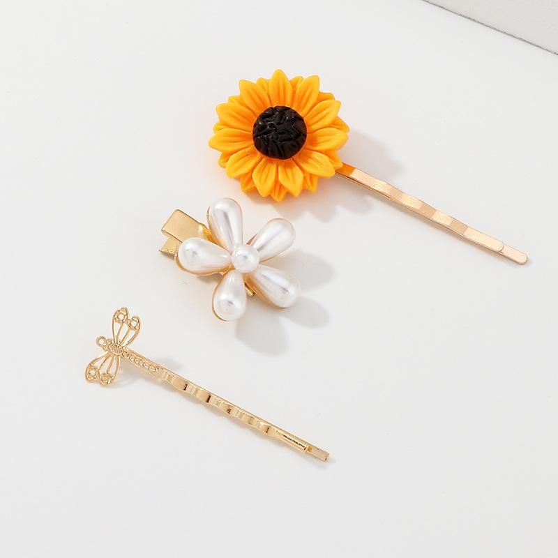 Womens sunflower enamel plating alloy Hair Accessories NHNZ123299