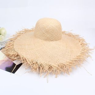 Summer outdoor raw edge straw hat NHXO123339's discount tags