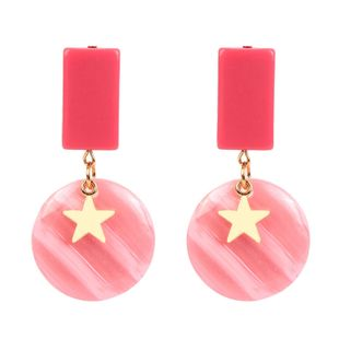 Womens Circle Acrylic Two-Color Series Earrings NHCT123366's discount tags