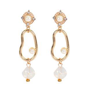 Womens Irregular Rhinestone Electroplated Metal Earrings NHCT123380's discount tags
