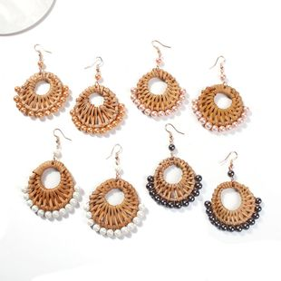 Womens Geometric Imitation Beads Rattan Earrings NHMD123391's discount tags