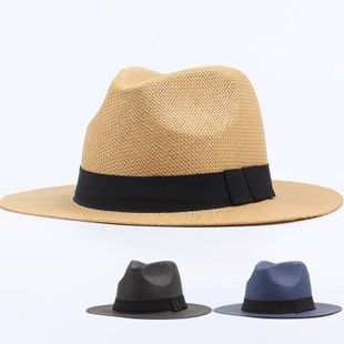 White male and female straw hat beach shade jazz hat NHXO123419's discount tags