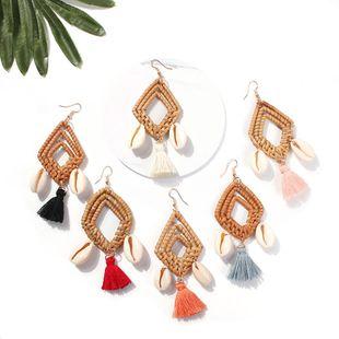Womens Geometric Shell Tassel Rattan Earrings NHMD123432's discount tags