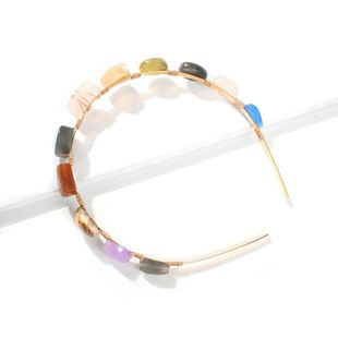 Womens U-shaped alloy shell natural stone headband Hair Accessories NHMD123436's discount tags