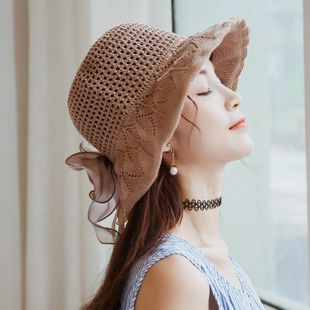 Fashion satin big bow cotton visor hat NHXO123453's discount tags