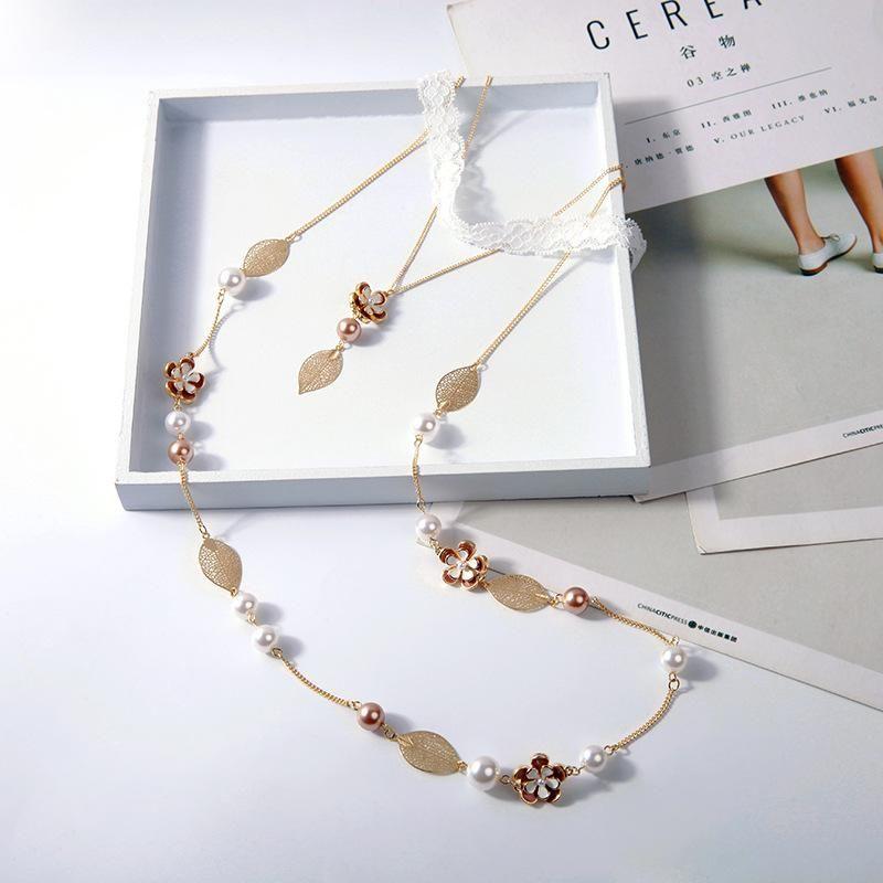 Creative multilayer drop oil flower leaf necklace NHQD123469