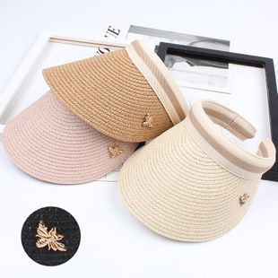 Straw Fashion Little bee empty top hat NHXO123485's discount tags