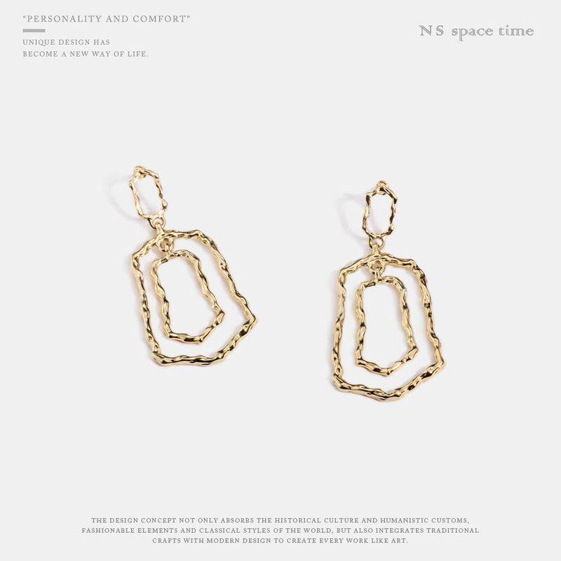 Womens Geometry Electroplating Alloy Earrings NHQS123496