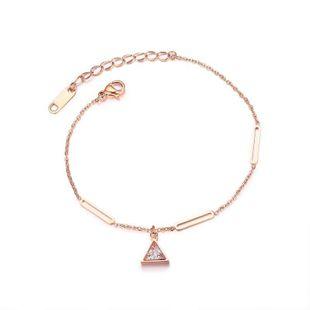 Womens geometrically Triangle inlaid zircon titanium steel Bracelet NHOP123520's discount tags