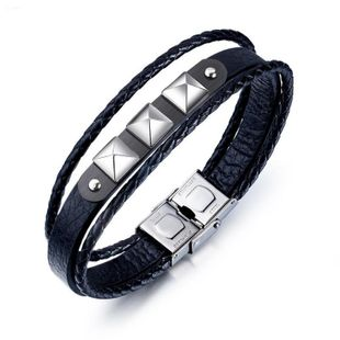 Fashion versatile Geometric Leather Bracelet NHOP123527's discount tags