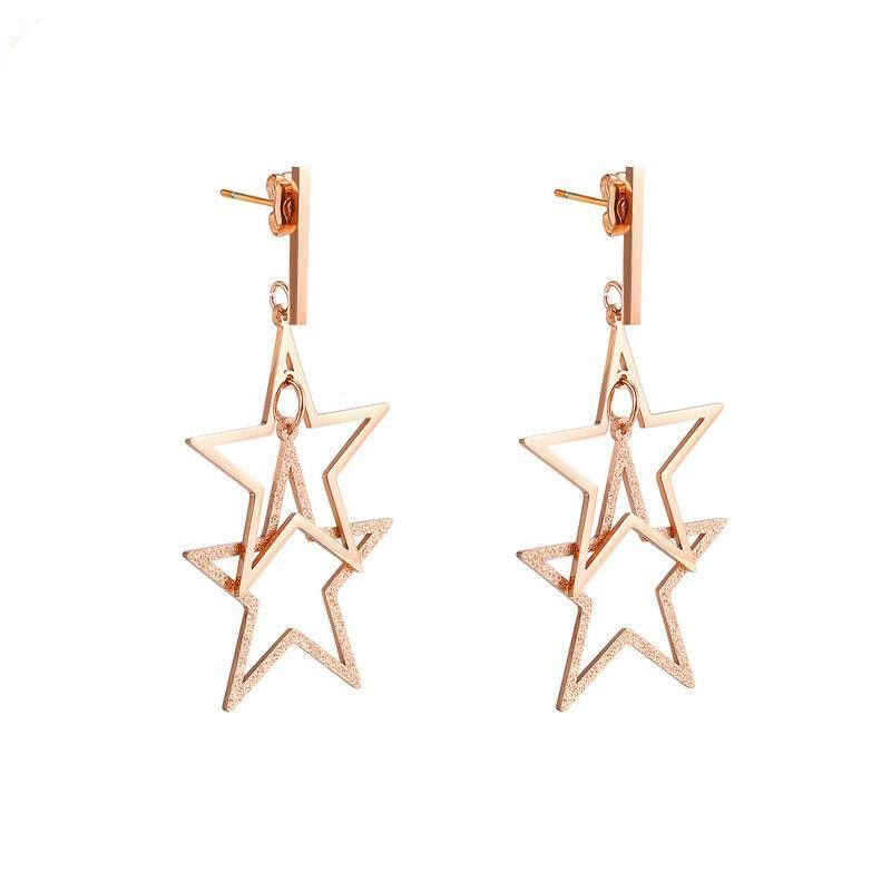 Womens Geometry Electroplated Titanium Steel Earrings NHOP123553