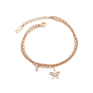 Womens geometrically plated Openwork flowers titanium steel Bracelet NHOP123560's discount tags
